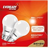 Eveready Base B22D 8-Watt 960Lumens LED Bulb (Cool Day Light And Pack Of 2) - Highest Lumen Per Watt.