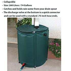 Rain Barrel-Collapsible-74 Gallon Capacity