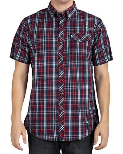 Micros Men's Blue Moon Short Sleeve Plaid Shirt