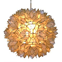 Product Image Capiz Shell Floral Pendant Light - White