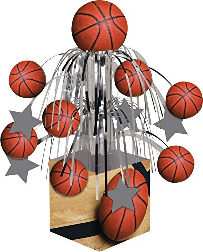 Creative Converting Sports Fanatic Basketball Centerpiece with Mini Cascade and Base, Orange