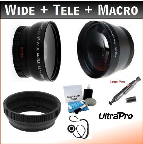 58Mm Essential Lens Kit, Includes 2X Telephoto Lens + 0.45X Hd Wide Angle Lens W/Macro + Pro Lens Hood + Lens Cleaning Pen + Lens Cap Keeper + Ultrapro Deluxe Lens Cleaning Kit. For The Sony Hvr-Hd1000U, Dcr-Trv900, Vx2100, Dsr-Pd150, Pd170 Mini Dv Camcor