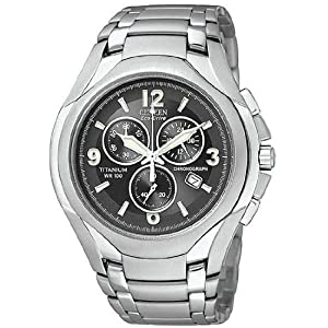 Citizen Men's AT0940-50E Eco-Drive Titanium Chronograph Black Dial Watch