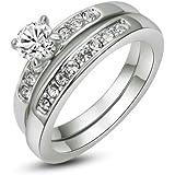 Yoursfs 18 quilates chapado en oro 2 en 1 los anillos de compromiso de circonio cúbico tamaño 17