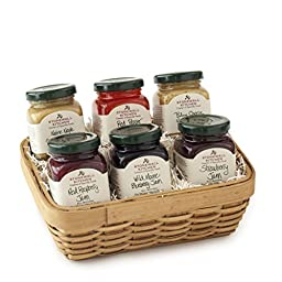 Stonewall Kitchen Sampler 6 Piece Gift Basket Includes Red Raspberry Jam, Wild Maine Blueberry Jam, Red Pepper Jelly, Strawberry Jam, Blue Cheese Herb Mustard and Maine Maple Champagne Mustard