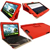 "iGadgitz Red 'Portfolio' PU Leather Case Cover for Asus Transformer Pad & Keyboard Dock TF700 TF700T TF700KL Infinity 10.1"" Android Tablet (NOT SUITABLE FOR TF701T)"