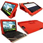 iGadgitz Red 'Portfolio' PU Leather Case Cover for Asus Transformer Pad & Keyboard Dock TF700 TF700T TF700KL Infinity 10.1 Android Tablet (NOT SUITABLE FOR TF701T)