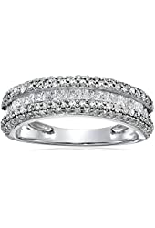 14k White Gold Diamond Band Ring (1 cttw, H-I Color, I2-I3 Clarity)