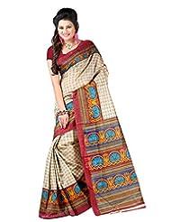 Lookslady Printed Beige Bhagalpuri Silk Saree