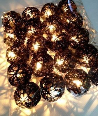 Storm Black Rattan Ball Fairy Light String 3 Meters Long Uk Ce Plug