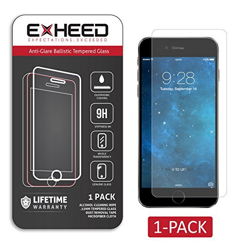 Exheed® Iphone 6 Anti-Glare Tempered Glass Screen Protector - High Quality Ballistic Tempered Glass Protector (1-Pack Retail Package With Lifetime Warranty - Usa Seller)