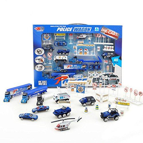 Alloy Police Car Toy Model Car Traffic Signs Set 1:72 ratio for Kids Gifts