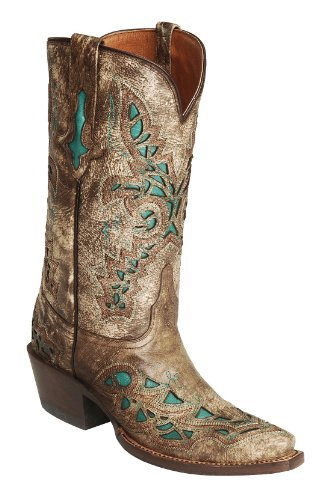 Lucchese Women's Handcrafted 1883 Desert Plato Turquoise Inlay Cowgirl Boot Snip