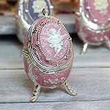 エッグ型 18弁オルゴール 宝石箱 天使カメオ ピンク ♪星に願いを