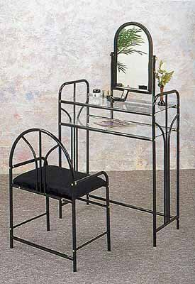 Coaster Vanity Table Mirror and Stool/Bench Set, Glossy Black Finish Metal