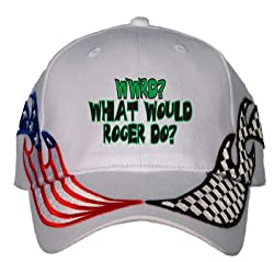 WWRD? What would Roger do? USA Flag / Checker Racing Hat / Baseball Cap