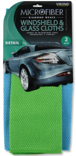 Viking Diamond Weave Microfiber Windshield & Glass Cloth - 2 Pack