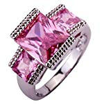 Yazilind 9mm*11mm Emerald Cut Pink Cubic Zirconia Alloy Size 8 Ring