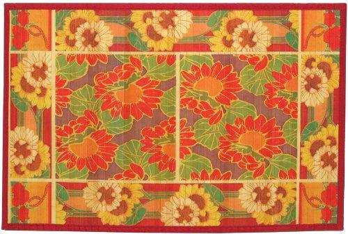 Francine Buza Circle Laser Printed Split Bamboo Sunflowers 3 X 5