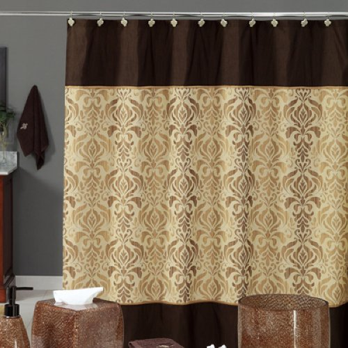 Brown Gold Shiny Damask Bathroom Shower Curtain Review