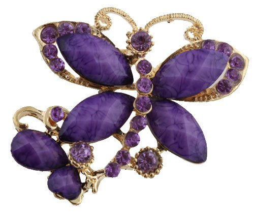 Gold  Purple Iced Out Butterfly  Stones Brooch