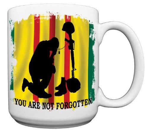 Vietnam Flag With Kneeing Soldier Coffee Mug From Redeye Laserworks