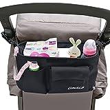 Buggy Organizador Bolsa, iHome&iLife múltiples funciones de nylon de la cremallera de la bolsa de viaje de bebé, colgante de almacenamiento con dos portavasos/bebidas