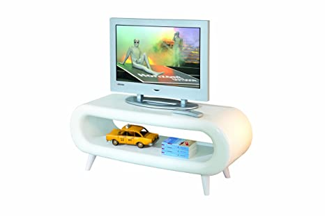 Links 20801380 Pritty - Mesa para Tv (Fibra de Vidrio, con Luz Led, 120 X 42 X 46 cm), color blanco
