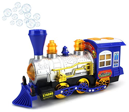 Blue Steam Train Locomotive Engine Car Bubble Blowing Bump & Go Battery Operated Toy Train w/ Lights & Sounds (Blue) (Steam Toy Train compare prices)