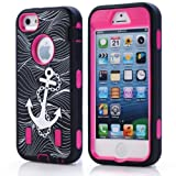 JIAXIUFEN Hard Case Spot Stripes Combo Hybrid Defender High Impact Body Armor box Pc&Silicone Material for Apple Iphone 5 5s with Screen Protector and Stylus(Black Back Rose Frame White Anchor)