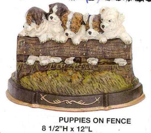 Door Stop - Puppies on Fence