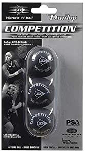 Dunlop Competition Single Yellow Dot Squash Ball - 3 Pack