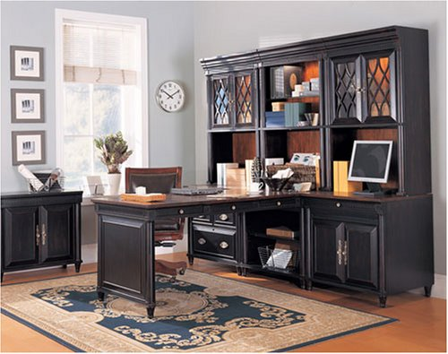 BLack Executive Modular Home Office Furniture Computer Desk Set