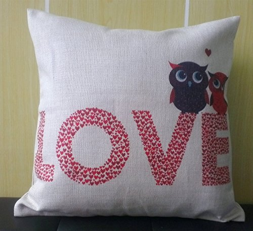 Best Price Howarmer 18x18 Throw Pillows Love Cushion Cover Love Owl Lovers Girlfriend Gifts Christma...
