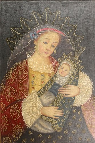 MADONNA & CHILD Virgin Mary & Jesus Cuzco Oil Painting Peru Folk Art 8x12