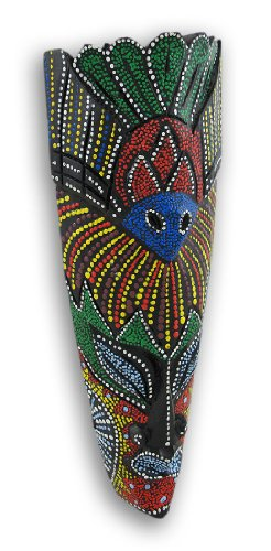 """11 1/2"""" Brightly Painted Island Tribal Mask Bird Theme front-878189"""