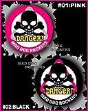 MAD DOG ROCKERSパンク☆ロック系缶バッジ:DANGER!スカル 黒(ブラック)