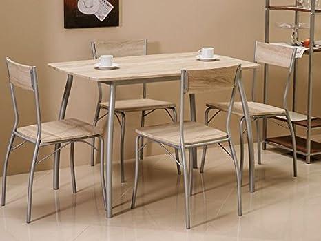 """Essgruppe """"Modus"""" Tisch+4 Stuhle Sonoma Eiche"""