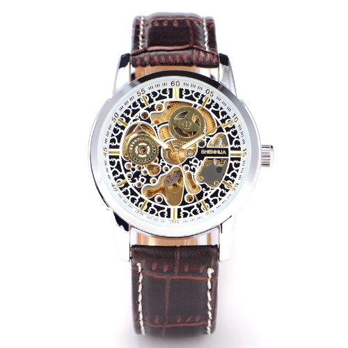Mens Boys Luxus Gold Coffee/Brown Leather Analogue Skeleton Automatic Mechanical Wristwatch + Gift Box