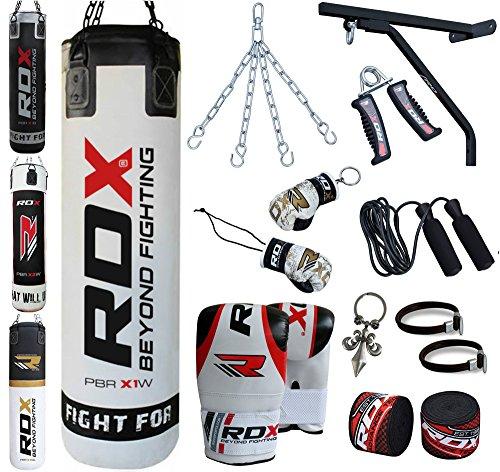 RDX Boxe 17PC Pelle 4FT 5FT Sacchi Pugilato MMA Pieno Sacco Staffa Guanti Terra Base Allenamento