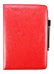 Emartbuy® Mediacom SmartPad 10.1 Inch HD iPro 100 / iPro 110 Tablet PC Universal ( 9 - 10 Inch ) Red 360 Degree Rotating Stand Folio Wallet Case Cover + Stylus