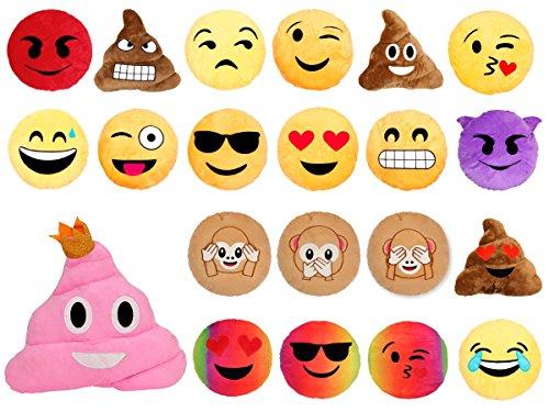 Cuscino decorativo morbido Smiley Emoji emoticone faccine culto confortevole decorazione peluche idea regalo, Emoji Kissen KI-01-21:Kuss Ki-03