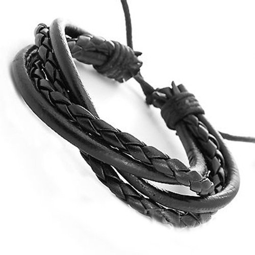 {Factory Direct Sale} Adjustable Mens Wristband Crossed Genuine Leather Bracelet Fashion Jewelry Christmas Gift (Black)