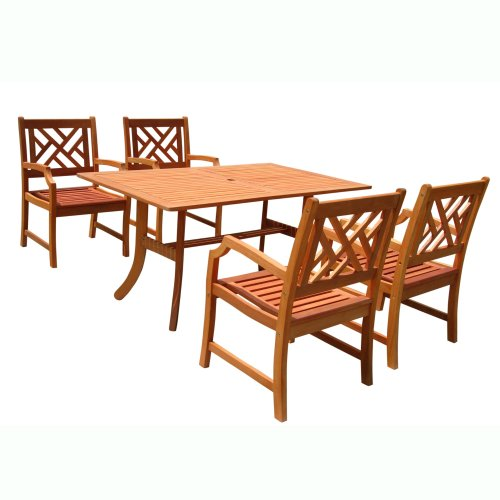 Cheap VIFAH V187SET2 Outdoor Wood 5 Piece Dining Set Natural Wood