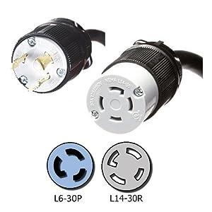 nema l6 30p to l14 30r adapter 1 foot 30a 250v 10 awg iron box ibx 3539 01 ac