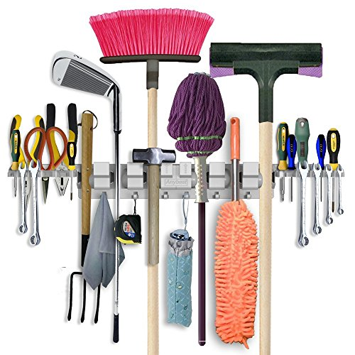 Leather Wall Equipment Holder: Anybest Patented Design Utility Mop Broom Holders Wall