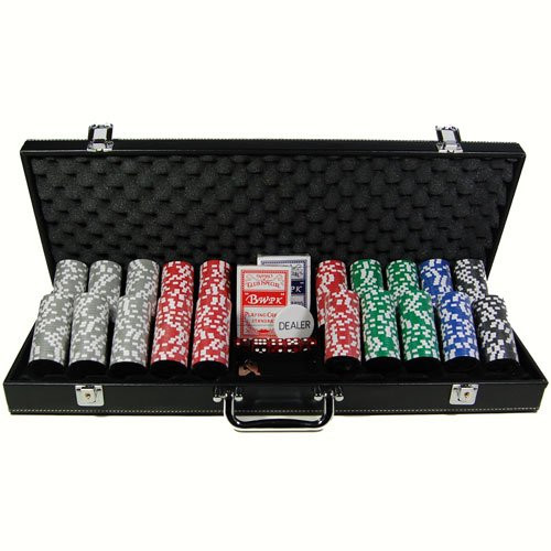 Squirrel Poker 500pcs Poker Set 15G ULTIMATE 2012 EDITION Design Poker Chips with 7 chip values in Black Faux Leather Poker case