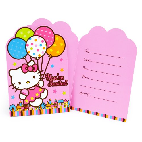 Amscan-Hello-Kitty-Balloon-Dreams-Die-Cut-Invitations-8-Count