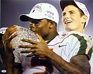ANDRE JOHNSON SIGNED AUTOGRAPHED MIAMI HURRICANES 16x20 PHOTO PSA DNA #S97462