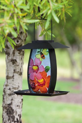 Cheap Floral Metal and Glass Solar Powered Birdfeeder (2BF201)